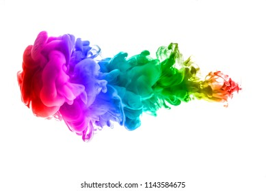 colorful dye in water on white background