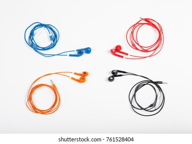 colorful earphone on white background.
