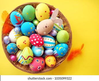 Colorful Easter background with home painted Easter eggs