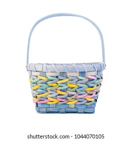 Colorful Easter basket on white.