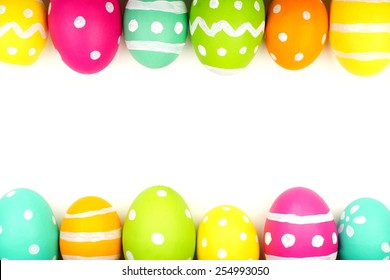 Colorful Easter egg double edge border against a white background