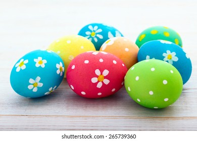 Colorful easter eggs. Background with easter eggs. With retro filter effect
