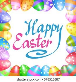 Colorful Easter eggs border for Easter holidays design