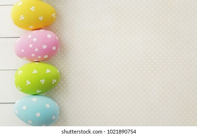 colorful easter eggs, copy space for text