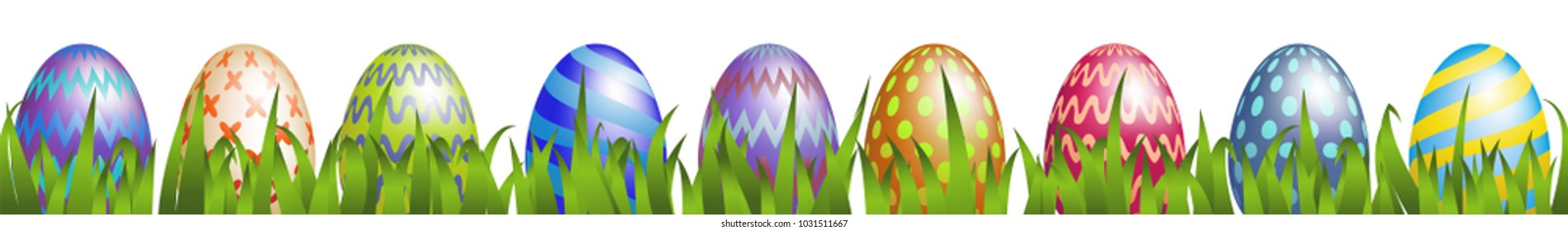 Colorful Easter eggs with grass isolated on white