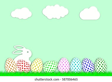 Colorful easter eggs with grass isolated on green background, paper art and craft style.