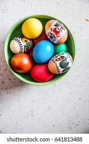 Colorful Easter eggs isolated on a white background