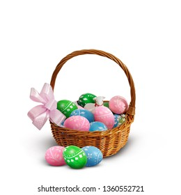 Colorful Easter eggs and lamb in an Easter basket isolated on white background