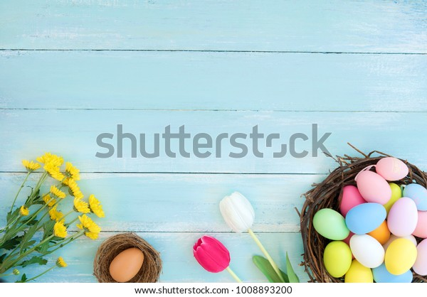 Colorful Easter Eggs Nest Flowers On Stock Photo (Edit Now