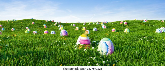 Colorful easter eggs on meadow for easter as a panorama background header
