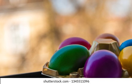 Colorful Easter eggs on plain background