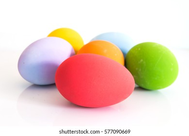 Colorful Easter eggs on a white background.