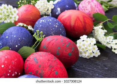 Colorful easter eggs on the wooden table-close up