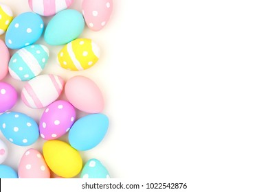 Colorful Easter side border with hand painted eggs isolated on a white background