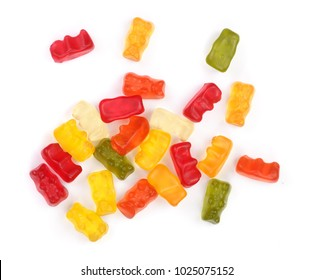 Colorful eat gummy bears jelly candy Isolated on white background. Top view. Flat lay