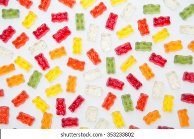 Colorful eat gummy bears jelly candy background