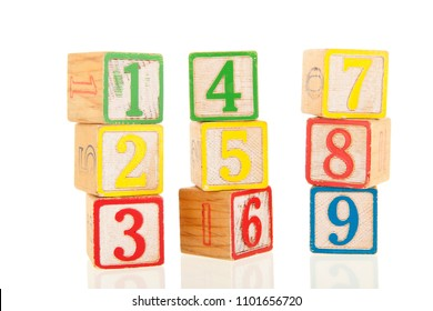 Colorful educational wooden toy blocks with sum