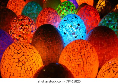 Colorful egg shaped lamps in Egypt