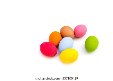 Colorful eggs so beautiful in panel eggs on white