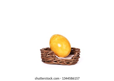 colorful eggs in Easter basket