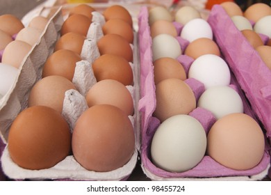 Colorful Eggs on Display at Farmer's Market