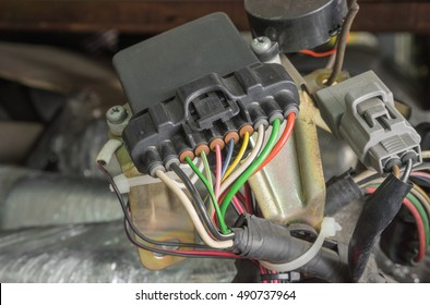 Colorful electric wiring of old car spare part
