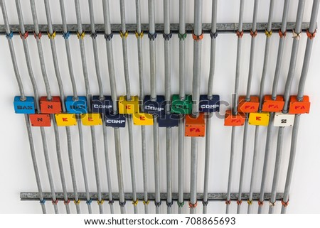 Colorful Electrical Terminal Boxes On Ceiling Stock Photo