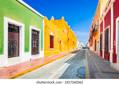 Colorful empty colonial street in the historic center of Campeche, Yucatan, Mexico