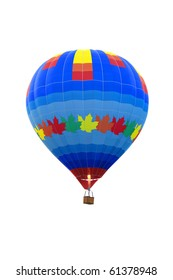 Colorful empty hot air balloon isolated on a white background
