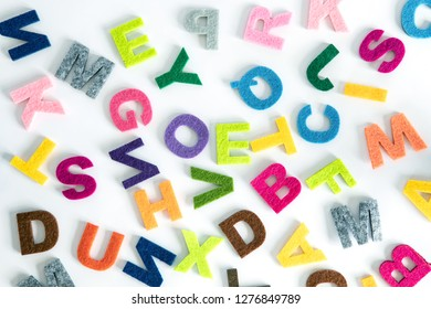 colorful ENGLISH alphabet  on white background ,English language learning concept