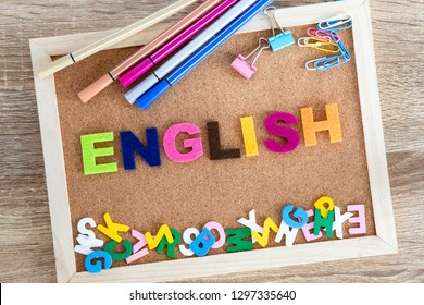 colorful ENGLISH word alphabet on pin board background ,English language learning concept