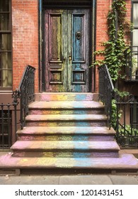Colorful entrance in gay pride colors.