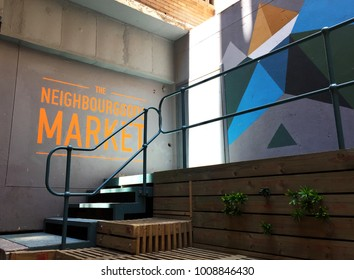 Colorful entrance to the Neighbourgoods Market in Gauteng district, Johannesburg, South Africa on 21st January 2017