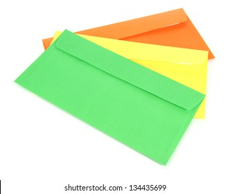 Colorful envelopes isolated on white