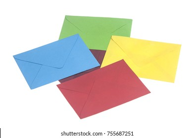 colorful envelopes isolated on white background