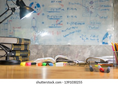 colorful equipment class with typical wooden benches Books and blackboard supplies.Back to school, Teacher's day holiday greeting icon. Education knowledge day concept