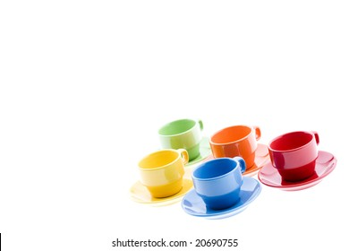 Colorful Espresso Mugs with Platters