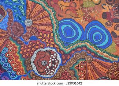 Colorful Ethnic Aboriginal Australian colorful pattern whole background