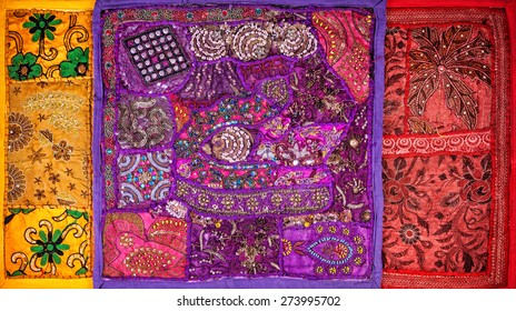 Colorful ethnic Rajasthan cushion covers on flea market in India