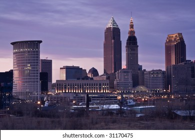Colorful Evening in Cleveland, Ohio.