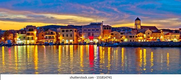Colorful evening in Town of Vodice, Dalmatia, Croatia, panoramic view