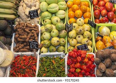 Colorful exotic fresh fruits