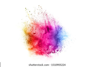 Colorful explosion for Happy Holi powder.Abstract background of color particles burst or splashing.