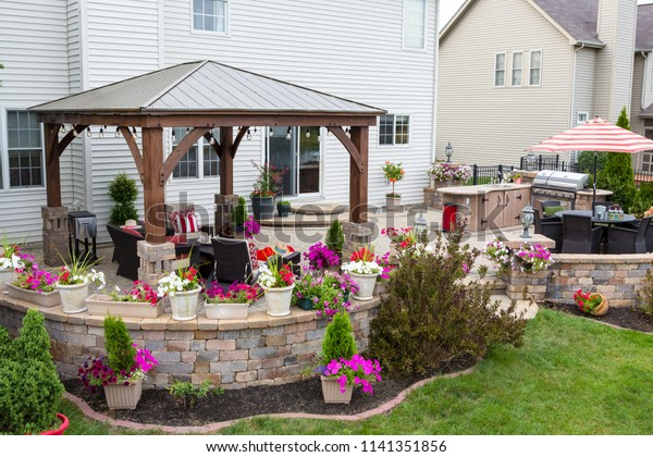 Colorful Exterior Curved Patio Summer Flowers Stock Photo Edit