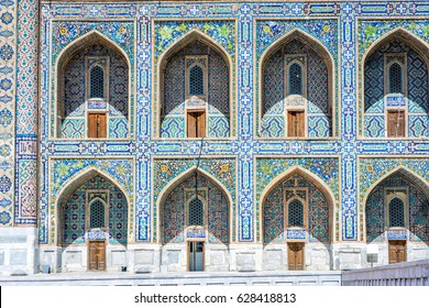 Colorful exterior of tilya-kori madrasah, Samarkand Registan
