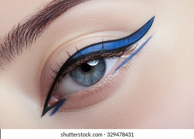 Colorful eye makeup closeup.