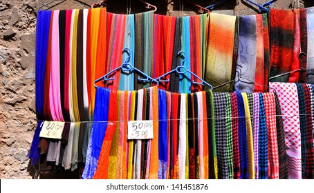 Colorful fabric of Essaouira, Morocco