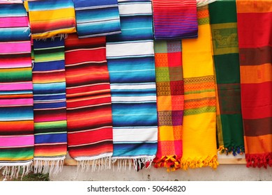 Colorful Fabric at market in Mexico