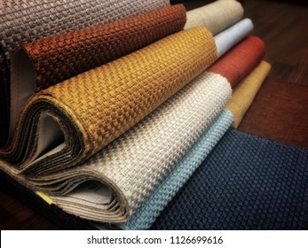 colorful fabric on catalogue for upholstery