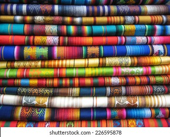 Colorful fabric in Otavalo